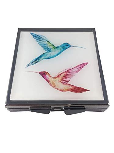 - Hummingbirds Four Section Slim Pocket/Purse/Travel Pill Box Case