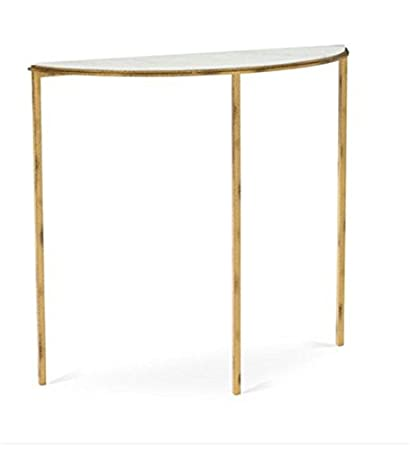 Classic Demilune Hammered Gold Console Table | White Marble Minimalist Metal