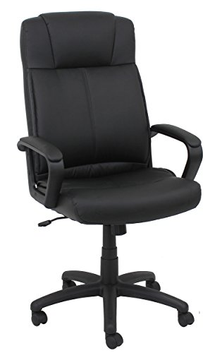 (OFM Essentials Swivel Leather Task Chair - Ergonomic Computer/Office Chair with Arms, Black (ESS-103-BLK))