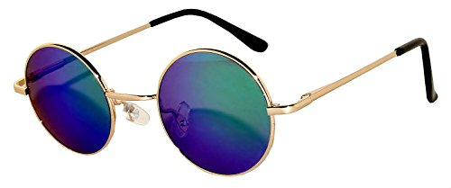 Round Sunglasses Blue-Green Mirrored Lens Metal Frame]()