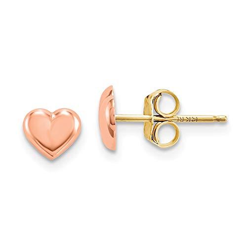 14k Rose Gold Heart Post Stud Earrings Love