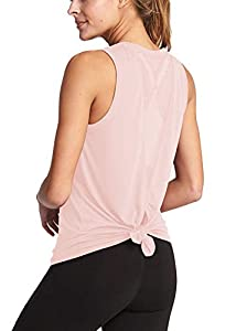 Mippo Women's Cute Mesh Yoga Workout Tank Tops Activewear Sexy Open Back Sports Shirts