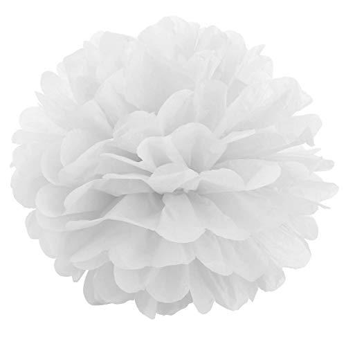 JZK 10 x Blanco pompones de papel 25 cm decoracion flores pom pom para boda cumpleanos fiesta comunion bautismo graduado de nacimiento de Halloween Navidad pon pon pompon