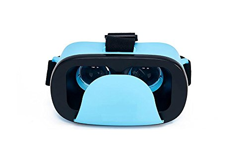 HXY VR 3D Glasses Virtual Reality Mini Box in Blue for Smart Phones from 4.5 to 6-Inch with HD Optical Lens