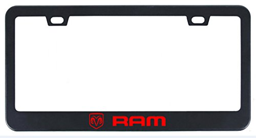 (Deselen Stainless Steel License Plate Frame for Dodge RAM with Screw Caps Cover Set, Black (2 Pieces Front/Back) LP-BS01RB)