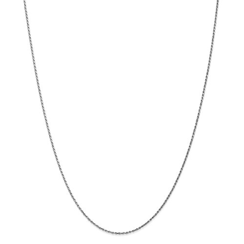 10k White Gold 1.15mm Rope Chain 18 inch Necklace 2.25g