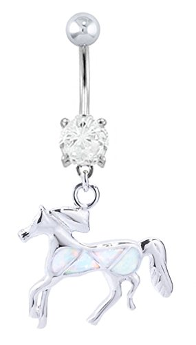 Pretty Sparkling White fire Opal Horse dangle Belly button navel Ring piercing bar body jewelry 14g ()