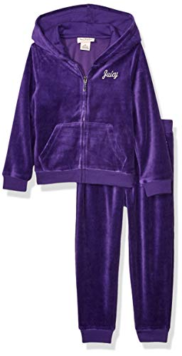 Juicy Couture Girls' Toddler 2 Pieces Hooded Velour Jog Set, Purple, 4T