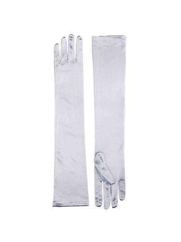 Long White Polyester Gloves (Long Satin Gloves White)