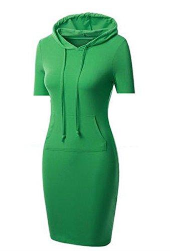 Allonly Femmes De Couverture À Capuchon Bande Automne Robe Manteau Pull Couleur Unie S Vert