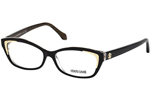 (Roberto Cavalli RC5034-001 Eyeglass Frame shiny black w/Clear Demo Lens 54mm)