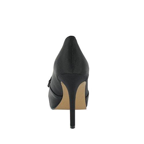 Alta Adornos Zapatos De 'lazo' Plataforma Con Ladies Lexus Negro Talón TSWnwqFq