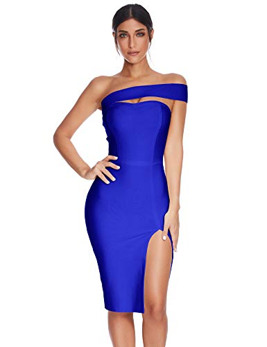 Meilun Womens Bodycon Bandage Dress Vestidos One Shoulder Midi Celebrity Party Dresses (Blue, L)