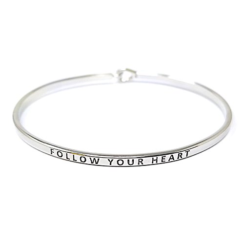 by you Inspirational Positive Quote Message Engraved Thin Cuff Bangle Hook Bracelet (Follow Your Heart-Silver)