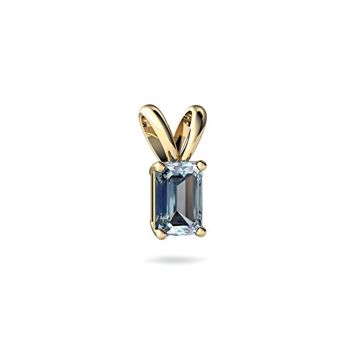 Emerald Cut Solitaire Pendant - 14kt Yellow Gold Aquamarine 6x4mm Emerald_Cut Solitaire Pendant
