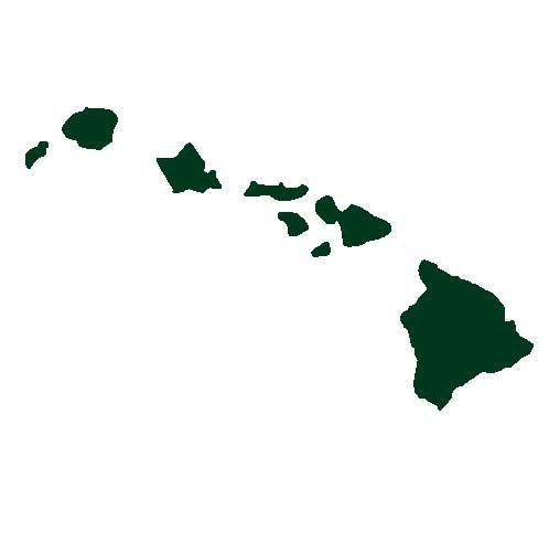 Hawaiian Islands Decal Sticker - Size:3.0 x 4.9 inches - Color:Dark Green