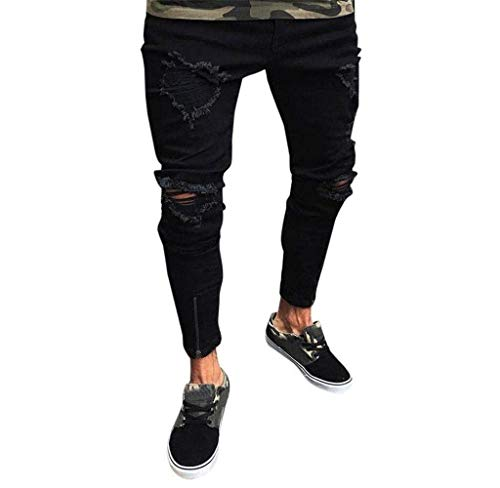 Stile Slim Pantaloni Strappati Fit Semplice Uomo Jogger Jeans Nero Denim Skinny Da RwqAwfO
