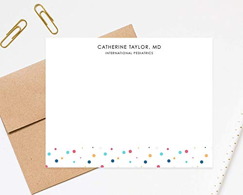 Colorful Polka Dots Personalized Stationery Note Cards with Envelopes ()
