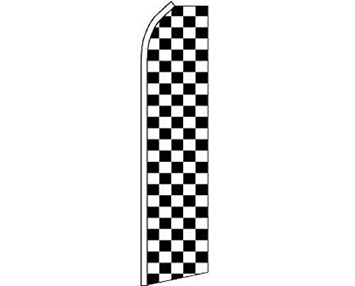 Black White Checker Checkered Swooper Super Feather Advertising Marketing Flag Double Stitched Fade Resistant Premium Quality by AES