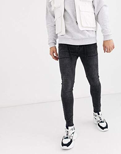 エイソス スキニー ジーンズ デニム スーパースキニー メンズ ASOS DESIGN spray on jeans in power stretch with drawstring [並行輸入品]