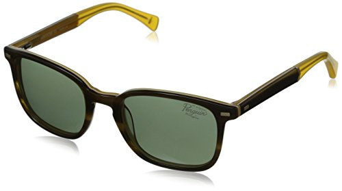Original Penguin Men's The Skinny Polarized Sunglasses, Feathered Olive White Gold Laminate,Yellow Crystal & Green, One - Sunglasses Penguin