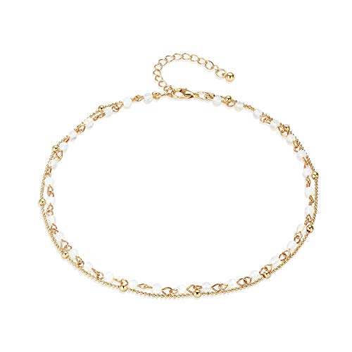 Fettero Dainty Double Layered Gold Chocker Handmade Beaded 14K Gold Fill White Opal Beads Necklace 14k White Gold Flower Necklace