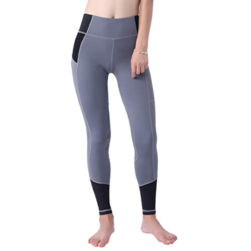 - OKAY SPORTS Women's Breathable Horse Riding Tights Knee Patch Grip Equestrian Pants Schooling Riding Breeches (Grey/Black, M)
