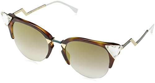 Fendi 0041S VIO Havana/Gold Iridia Cats Eyes Sunglasses Lens Category 2 ()