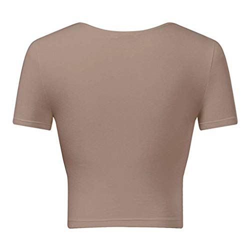 Crop Tops for Women BXzhiri Deep V Neck Short Sleeve Unique Slim Fit Coss Wrap Shirts Khaki by Bxzhiri_Women Tops (Image #2)