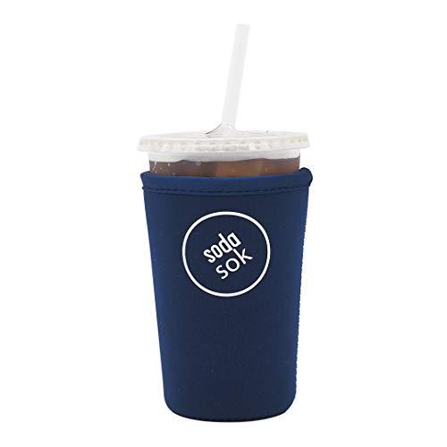 (SODA SOK Reusable Drink Sleeve - Insulated Neoprene Sleeve for Iced Fountain Drinks and Soda Cup Sleeve | Ideal for Medium 22-24oz Drink Cups (Midnight Blue))