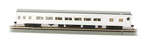 Aluminum Passenger Coach - Bachmann Industries Painted Unlettered Aluminum Smooth-Side Coach Car with Lighted Interior (HO Scale), 85'