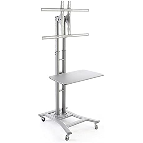 Mobile Plasma TV Stand In Silver With 28