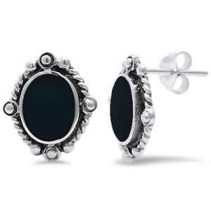 - Oval Black Onyx Filigree 925 Sterling Silver Earrings - Jewelry Accessories Key Chain Bracelet Necklace Pendants