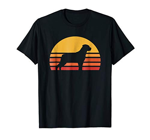 Retro Sun Rottweiler Silhouette T-shirt For Dog Lovers