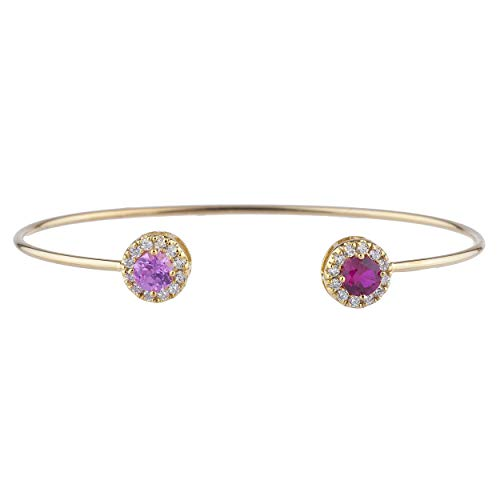 (14Kt Gold Created Ruby & Created Pink Sapphire Halo Design Bangle)