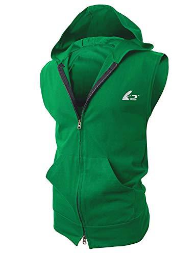 Tank Reg - BigRabbit® PAIZH Men's Sleeveless Workout Hoodie Zip-up Vests Gym Bodybuilding Lifting Tank Tops (L, Green)