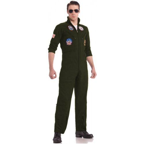 Top Gun US Navy Adult Flight Suit, Khaki, Plus Costume