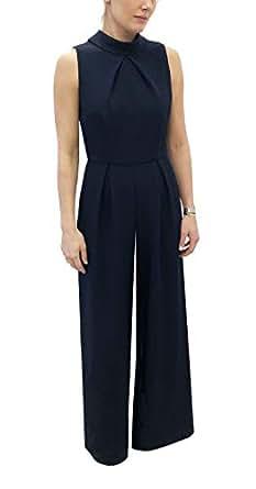 Julia Jordan Women's Sleeveless Feminine Jumpsuit with Tie Back Detail, Navy, 10