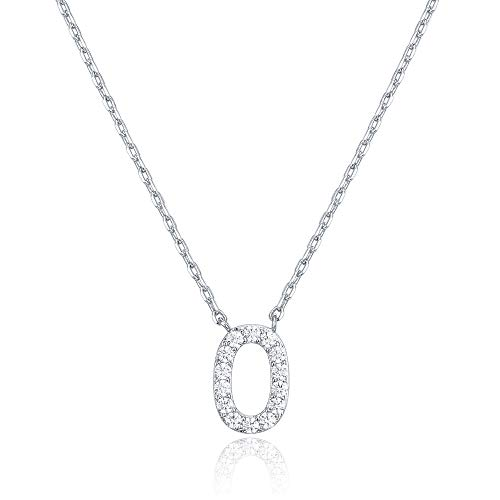 - PAVOI 14K White Gold Plated Cubic Zirconia Initial Necklace | Letter Necklaces for Women | O Initial