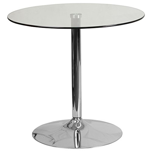 MFO 31.5'' Round Glass Table with 29''H Chrome Base