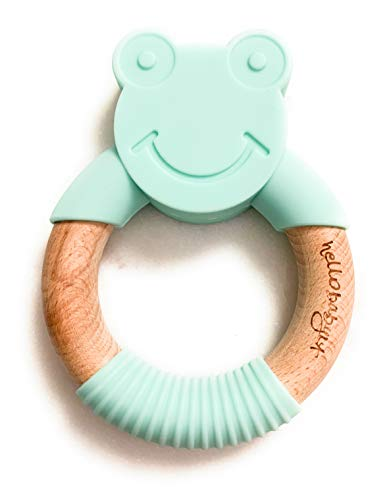 hellobabyLA Animal Wood and Silicone Teether | Baby Natural Teething Relief | Organic & Eco Friendly 100% BPA Free | Bunny Fox Bear Elephant Cat Frog | Includes Gift Bag (Mint Frog) ()