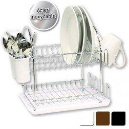 Egouttoir à vaisselle double en inox avec plateau - Blanc: Amazon ...