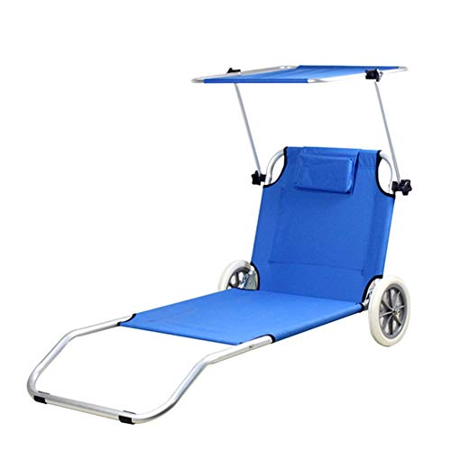 Beach Folding Chair with Outdoor Furniture Yacht Club Wheeled Chaise Leisure Beach Chair With Umbrella Sun Shelter Folding Lounger Chaise Chair On Wheels Outdoor Patio Deck Chair Adjustable Rolling Lo (Sun Lounger Aluminium Furniture Outdoor)