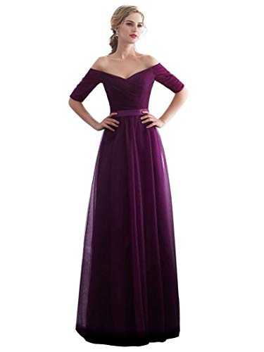 Beauty-Emily Purple Long Tulle Christmas Halloween Maxi Party Dresses Evening Gowns Purple, Size US10 -