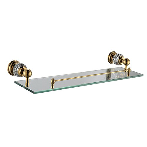 Comfort's Home SJ5613G Modern Wall Mounted Bathroom Glass Shelf, Crystal Gold by Home Comforts