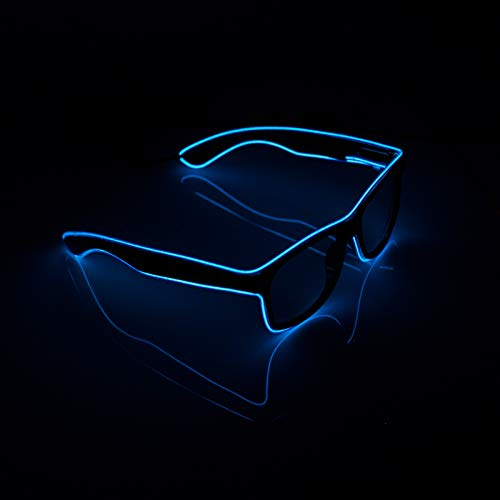 XSC EL Wire Light Up Glasses Neon Glowing Glasses for Costume Party Festival,Party Concert, Halloween, Christmas (Blue)