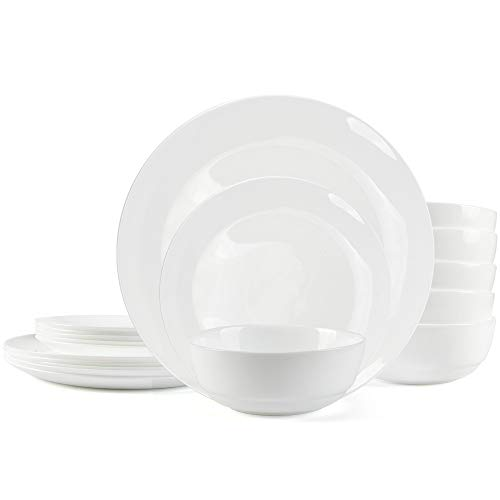 Dinnerware Set Danmers 12-piece Opal Dishes Sets, Plates, Bowls, Service for 4, White