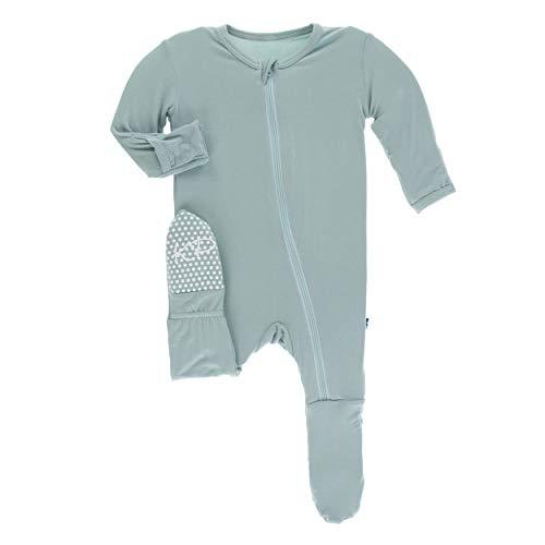 Kickee Pants Little Boys Girls Solid Footie Zipper - Jade, 12-18 Months (Snap Pajama Pant)
