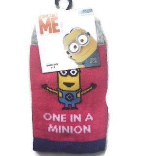 Despicable Me Socks Pink size 4-8 Pack Of 3