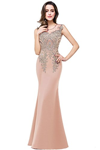 MisShow Women's Rhinestone Long Lace Mermaid Evening Dresses,Nude Pink,Size 14 (Vestidos De Fiesta Largos)